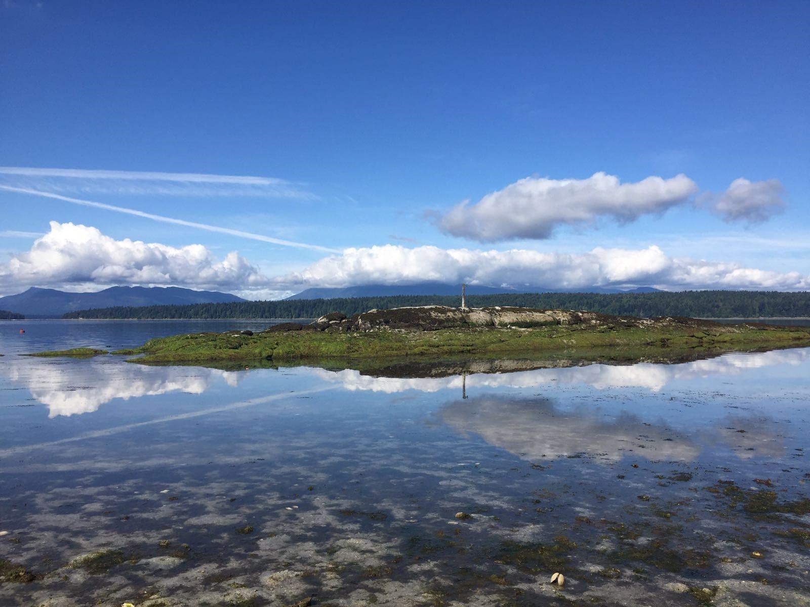 Blue sky reflecting on lake